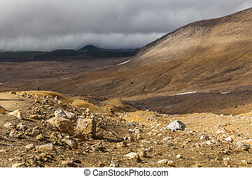 Wild landscape with lifeless volcanic rocks. Kamchatka ...