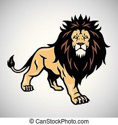 wild, leeuw, vector, illustratie, standing.