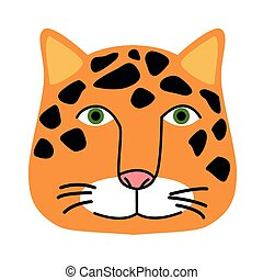 wild leopard feline head animal icon