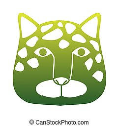 wild leopard feline head green silhouette animal icon