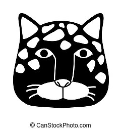 wild leopard feline head silhouette animal icon