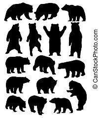Bear Silhouettes - Wild Life Animal, Bear Silhouettes, art ...