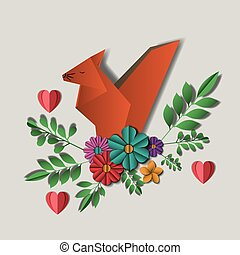 wild life Digital Crafts in floral decoration vector...