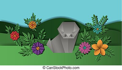 wild life Digital Crafts in landscape vector illustration...