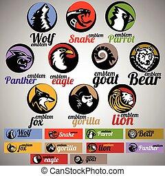 wild life emblem set