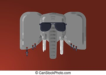 Wild life. Gray elephant rocker with glasses and earrings....