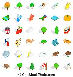 Wild life icons set, isometric style - Wild life icons set....
