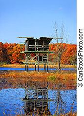 Wild life viewing platform at Kent lake in Michigan