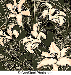 Illustration of blossoming wild lillies against dark background drawn in vintage graphic style