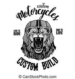 Wild lion. Biker, motorcycle animal. Hand drawn image for...