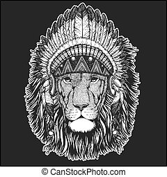 Wild lion Cool animal wearing native american indian headdress with feathers Boho chic style Hand drawn image for tattoo, emblem, badge, logo, patch