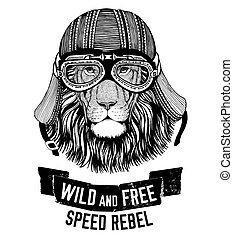 Wild lion Wild cat Be wild and free T-shirt emblem, template...