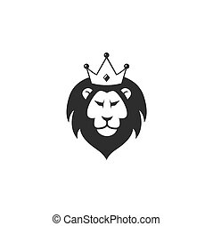 Wild Lion with Crown Logo Icon, Vector Design