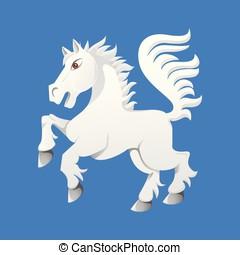 Wild living horse on the run