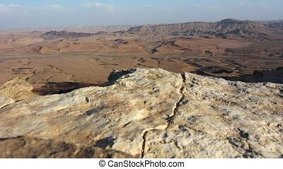 wild, luchtopnames, verlaat landschap, van, makhtesh, ramon, in, de, negev woestijn, israël