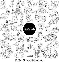 wild mammals animal characters set color book - Black and...
