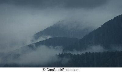 Wild Misty Mountains In The Rain - Mountain range in thick...