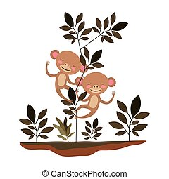 wild monkeys couple in the jungle