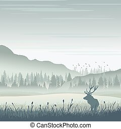 Wild moose in mountains - Vector wild moose in mountains
