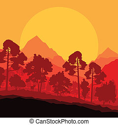 Wild mountain forest nature landscape scene background illustration vector