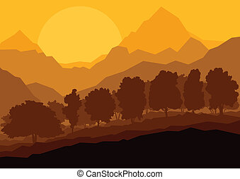 Wild mountain forest nature landscape scene background illustration vector for poster