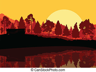 Wild mountain forest nature landscape scene background illustration vector