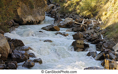 Wild mountain river flowing in the canyon