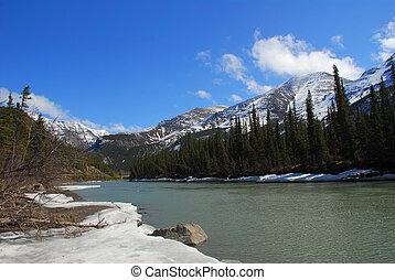 Landscape of Kenai river melting in Spring in Alaska