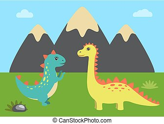 Wild Nature and Dinosaurs Vector Illustration