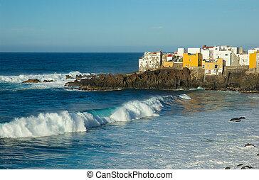 wild ocean coast in Puerto de la Cruz, Tenerife, Spain