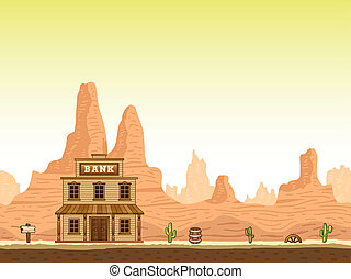 Wild and old west hot canyon seamless background with bank.