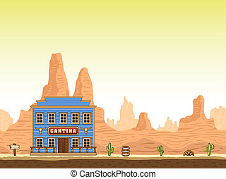 Wild and old west hot canyon seamless background with cantina.