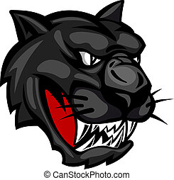 Wild panther head isolated on white background for mascot design