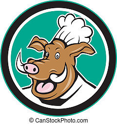 Wild Pig Boar Chef Cook Head Circle Cartoon