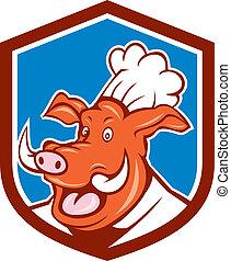 Wild Pig Boar Chef Cook Head Shield Cartoon