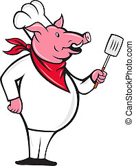 Vector illustration of a pig chef holding a spatula standing to side done in cartoon style.
