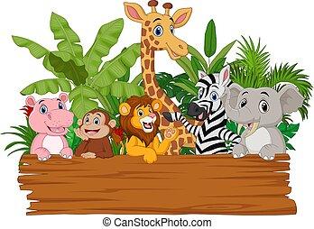 wild, plank, dieren, leeg, vasthouden, spotprent