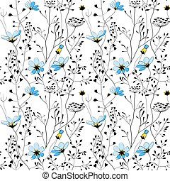 Wild plants and blue flower seamless pattern