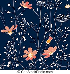 Wild plants and flower seamless pattern