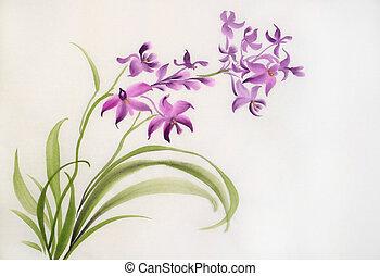 Wild purple orchids