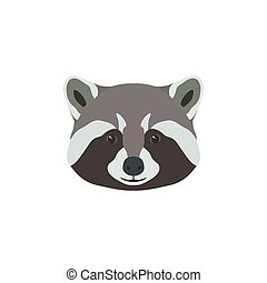 Wild raccoon head. Animal mascot.