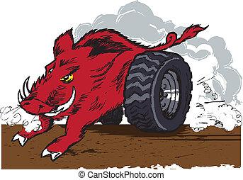 A wild hog with racing wheels