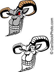 Wild ram as a tattoo or symbol isolated on white