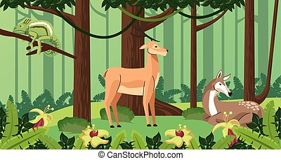 wild reindeer with fawn and chameleon vector illustration ...