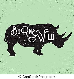 wild rhino standing - hand drawn silhouette of mighty wild...