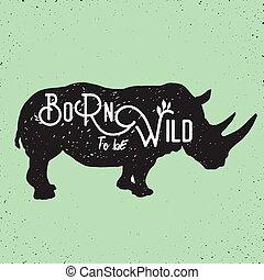 wild rhino standing - hand drawn silhouette of mighty wild ...