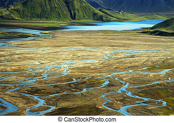 Wild river delta with mountains, Iceland