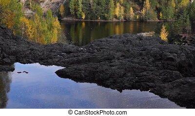 Wild river in forest in autumn tilt