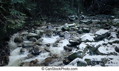 Wild River With Snow Falling - Rugged mountain river in the...