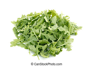 Wild Rocket in a heap isolated on a white background